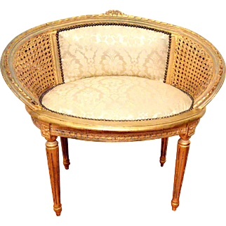 French Louis XVI Cane Back Vanity/Barrel Chair
