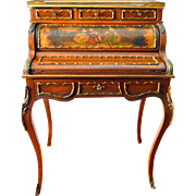 French Louis XV Roll Top Bureau Desk
