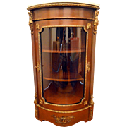 French Mahogany Corner Marble Top Cabinet with Bronze Ormolu Mounts