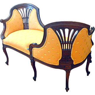 French Mahogany Upholstered Courting/Tete A Tete Chair