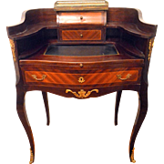 French Writing Desk Parquetry with Ormolu