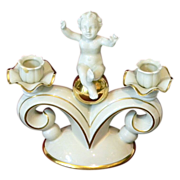 Gerold Porzellan Bavaria Putti Cherub on a Double Candle Art Deco