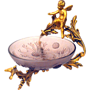 Gold Gilt Holder Cherub/Angel Aamethyst Bon Bon Dish