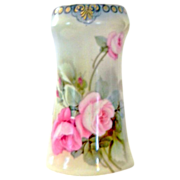 Pristine Hallmarked R.S, Germany Fine Porcelain Hand-Painted Hat Pin Holder with Pink Roses.