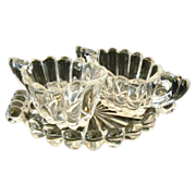 Heisey Crystolite Individual Cream and Sugar with Tray