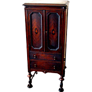 Humidor Cabinet Mahogany with Floral Marquetry