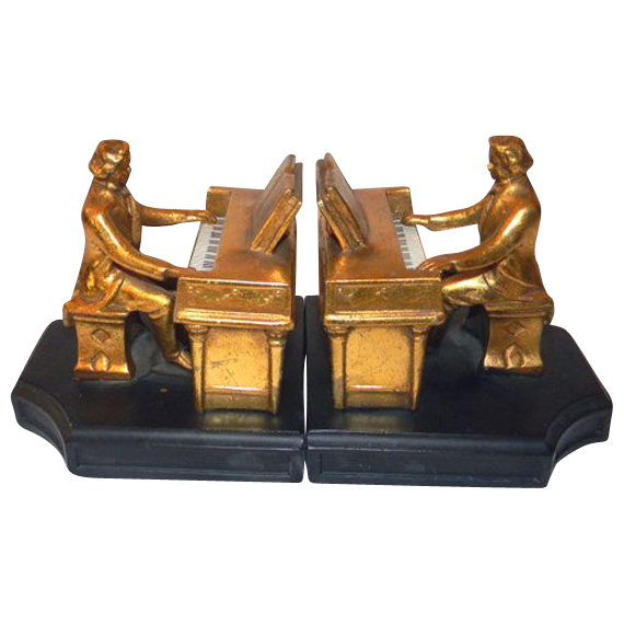 J b hirsch bookends beethoven 1932 cast iron spelter metal pr from front porch on ruby lane - Piano bookends ...