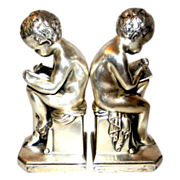 Jennings Brothers Bookends Learning to Write Silver Finish
