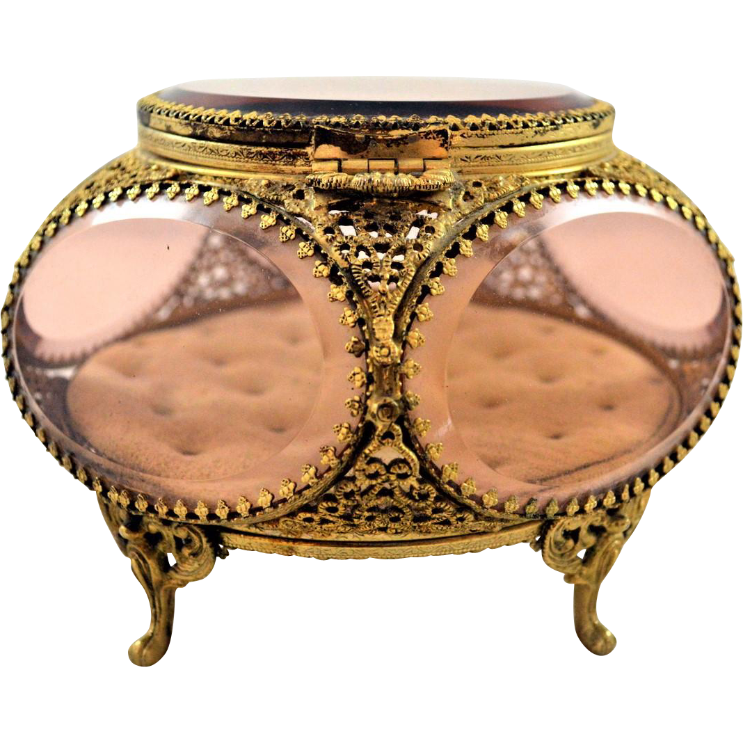 Jewelry Casket Box Gold Gilt with Rose Pink Beveled Glass