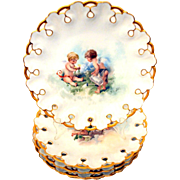 Limoges Cabinet Plate Cherubs William Guerin  Artist Signed Angles 10 Plates