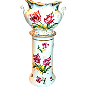 Lovely Jardinière with Umbrella Stand Base Hand Painted Parrot Tulips.