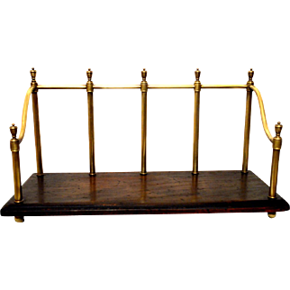 Mahogany Brass Book Caddy Desk Top