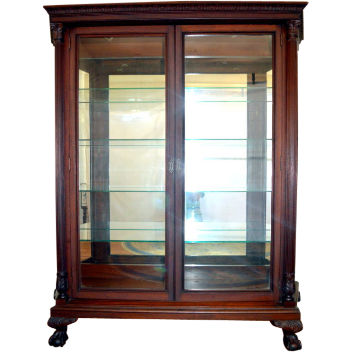 Mahogany Carved China, Display Cabinet Chippendale with Reeded Pillars Ball  Claw Feet - Mahogany Carved China, Display Cabinet Chippendale With Reeded