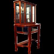 Mahogany Curio Display Petite Cabinet Mirror Back