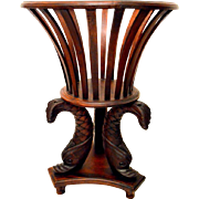 Empire Style Mahogany Jardinière Plant Stand with Dolphin Legs - Red Tag Sale Item