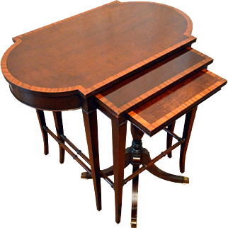 Mahogany Nesting/Stack Tables Imperial Kingswood Inlaid Banding