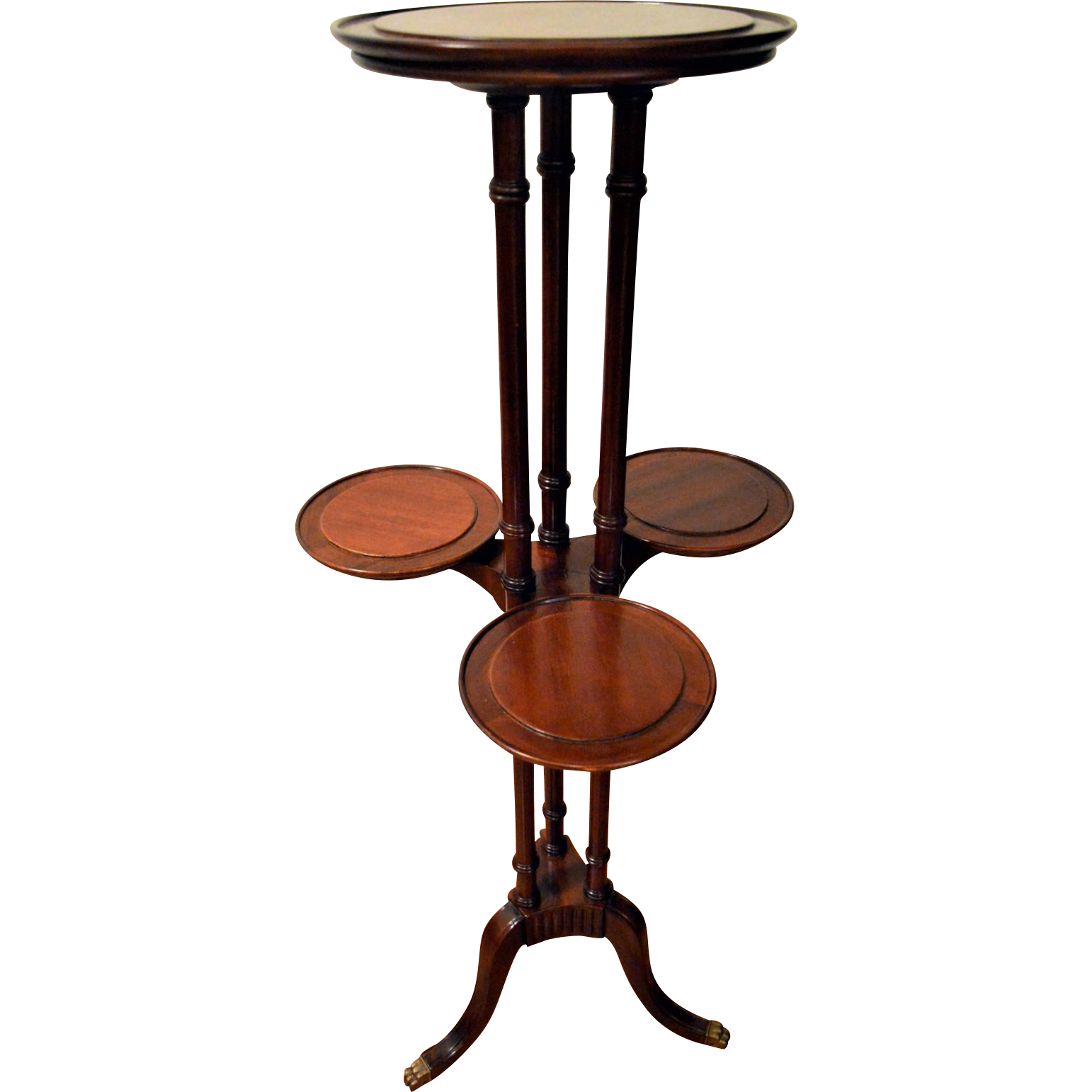 Mahogany Plant Display Stand four Tiers