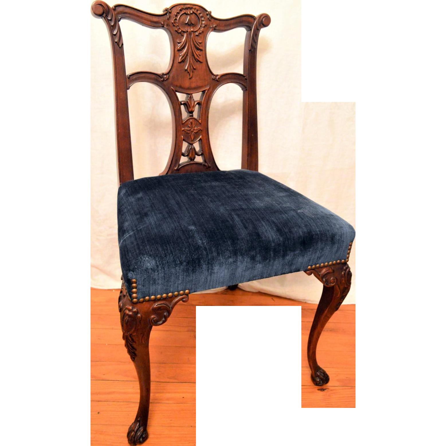 Mahogany Queen Ann ChairVelvet Upholstered Seat