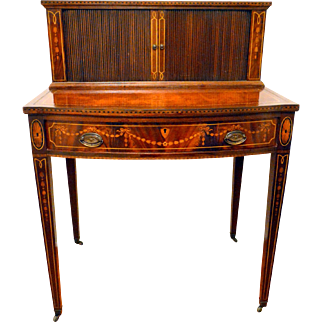 Mahogany Tambour Desk with Marquetry