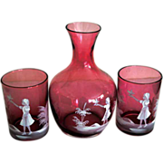 Mary Gregory Cranberry Decanter with two Goblets/Glasses Water Set