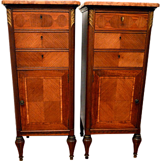Pair of French Marble Top Chests End Tables
