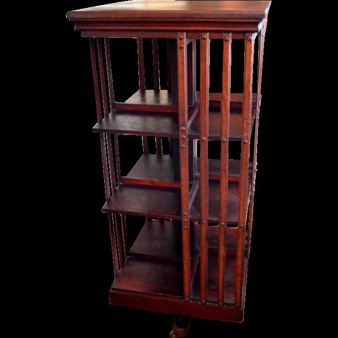 Mahogany Revolving Bookcase Signed John Danner Three Shelves
