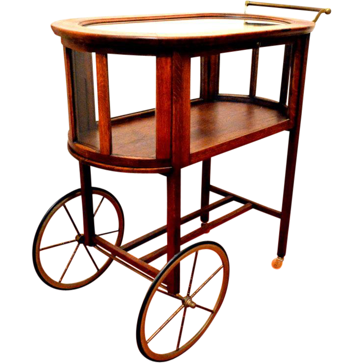 Oak Rolling Cart ~ Vintage bar cart pastry rolling tiger oak from front porch