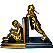 Ronson Art Deco Gilded Gold Oriental Children Bookends