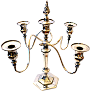 Silver Plate Quadruple Candelabra Superior Silver Co.  4 Branch with Candle Snuffer