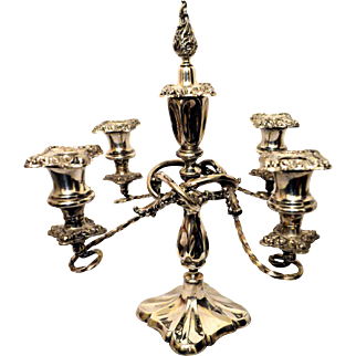 Antique Silver Plate 5 Light Candelabra with Snuffer Wilcox Silver-plate Co