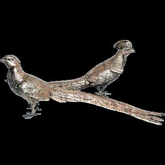 Silver Plate American Pheasants Weidlich Bros. Pair