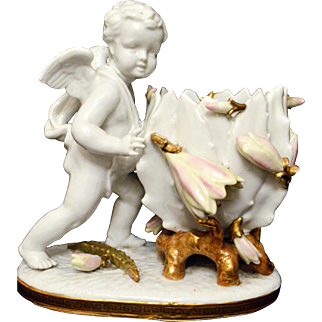 Sitzendorf Voigt Brothers Vase with Cherub/Angel with applied flowers