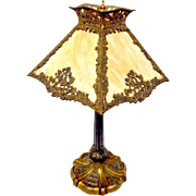 Slag Glass Lamp Art Nouveau Carmel