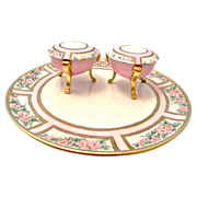 Tressemann & Vogt Limoges Porcelain Tray with two Vanity Jars