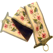 Victorian Needlepoint Bell Pull, Length 49 inches
