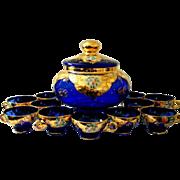 Vintage 14 Pc Hand Blown Murano Cobalt Art Glass Punch Bowl Set 22 K Gold Trim