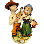 Vintage Hand Painted Capodimonte Porcelain Figurine Set – Picnic – Italy 20th Century