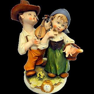 Vintage Hand Painted Capodimonte Porcelain Figurine Set – Picnic – Italy 20th Century