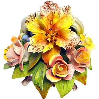 Vintage Capodimonte Porcelain Molded Flowers Decor Box