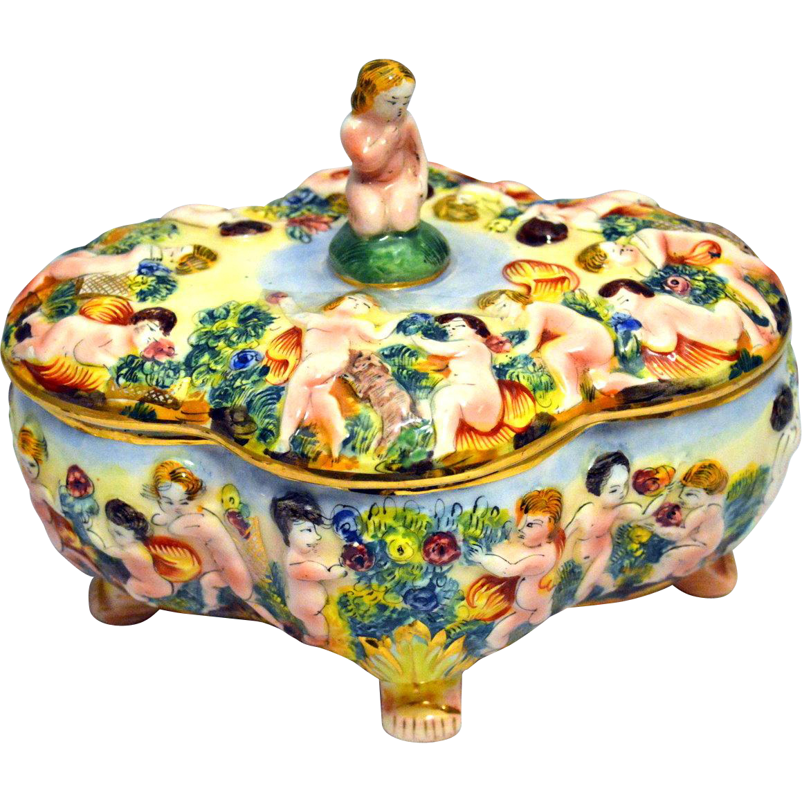 Vintage Hand Painted Capodimonte Porcelain Box with Lid