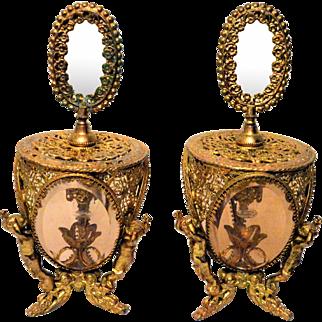 Vintage Gilt Ormolu Filigree Perfume Bottles Cherubs