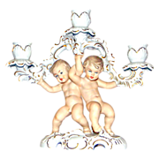 Wallendorf Candelabra three part with two full body Putti's Cupids.