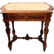 Walnut Burl wood Renaissance Revival Library Table Partners Desk Marble Top