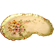 William Guerin Limoges HP Pink Roses Dresser Tray C1900