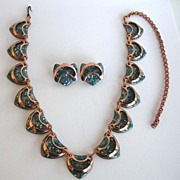 MATISSE  Teal Copper Enamel Necklace/Earring Set