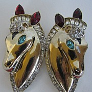 Corocraft Sterling Double Horse Pin in Coro Duette Mechanism with Matching Horse Earrings
