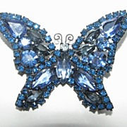 "Weiss Midnight Sapphire Butterfly Brooch    ""Clearance"""