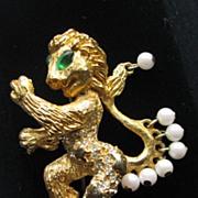 KJL Figural  Mythological Griffin Culture Pearl Brooch
