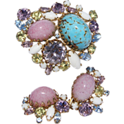 Hobe'  Demi Parure Set Brooch and Earrings