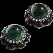 KJL  RARE Moghul  Jewels of India Cabochon Clip Earrings